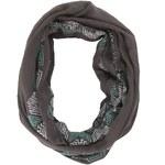 Tmavě šedý šátek Silvian Heach Ronsilver se zeleným vzorem