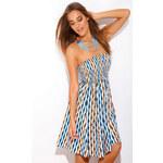 Venca Letní šaty modro/oranžový potisk M
