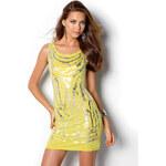 Venca Metalické šaty žlutá XS