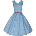 DARIA modre puntíkované retro šaty inspirované padesátými léty
