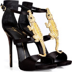 Giuseppe Zanotti Leather/Satin Sandals with Embellished Front