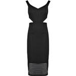 BOOHOO Černé šaty Nina s výřezy na stranách