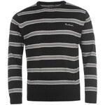 mikina Pierre Cardin Two Stripe Knit Jumper pánská Black S