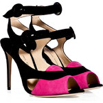 Paul Andrew Suede Sentinel Sandals in Fuchsia and Black