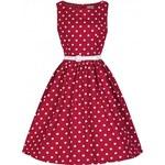 LindyBop retro šaty Audrey, červené s puntíky