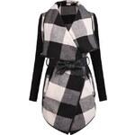 Shein károvaný kabátek s páskem, černý