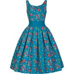 LindyBop tyrkysové šaty Lana, květinové