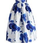 Chicwish midi sukně Modrá růže