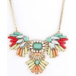 SheInside Multi Gemstone Gold Bead Chain Necklace