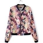 SheInside Long Sleeve Blooming Florals Print Bomber Jacket