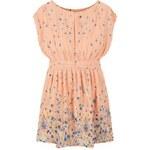 SheInside Pink Sleeveless Floral Elastic Belt Dress