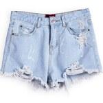 SheInside Blue Pockets Ripped Denim Shorts