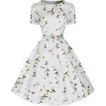 CLARISSA svatební šaty s potiskem ptáčků inspirováno padesátými léty