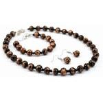 Murano Sada náhrdelník, náramek, náušnice skleněné korálky - černá - Sommerso