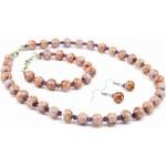 Murano Sada náhrdelník, náramek, náušnice skleněné korálky - světle fialová - Sommerso