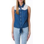 Tally Weijl Denim Tie-Up Shirt with Lace Detail
