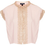 Topshop Crochet Trim Blouse