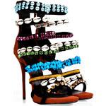 Giuseppe Zanotti Suede Jeweled High Heel Sandals