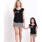 Lesara 2-teiliges Set T-Shirt und Rock - Schwarz-Weiß - L