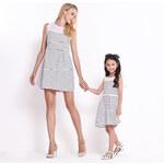 Lesara Kleid mit halbtransparentem Kragen - L