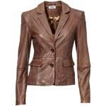 Dámská kožená bunda z jehněčí kůže HEINE, kožená bunda hnědá
