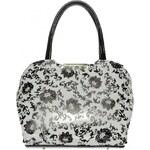 Bílo-černá lakovaná kabelka s potiskem květů S467 GROSSO