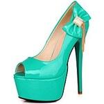 LightInTheBox Patent Leather Women's Stiletto Heel Peep Toe Platform Heels with Bowknot/Rhinestone Sandals Shoes(More Colors)