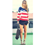 LightInTheBox Women's Fashion Lovers Loose Top Knit Sweater American Flag Star Stripe Pullover Jumper