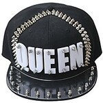 LightInTheBox Fashion Unisex Punk Style Queen White Letter Rivet Black Hat for Men Women Ladies