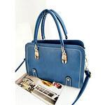 Xinqidian ASP Japan Korean Style Casual PU Leather Blue Tote CrossbodyMessenger Shoulder Bag
