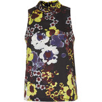 Topshop Neon Flower Print Shell Top