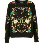 Topshop Floral Embroidered Sweatshirt