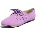 LightInTheBox Ame Comfort PU Lace Up Low Heels Shoes(Purple)