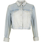 Topshop MOTO Bleach Crop Denim Jacket