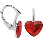 Troli Dívčí stříbrné náušnice Heart Flat Light Siam