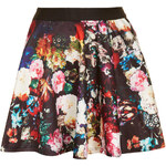 Topshop **Floral Printed Skater Skirt by Rare