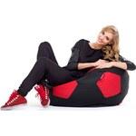 LENO Sedací vak (pytel) fotbalový míč černo-červený polyester