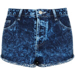 Topshop MOTO Acid Wash Denim Hotpants