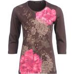 Roses & Angels Shirts, blumiges Shirt, dk. braun, Größe XXL