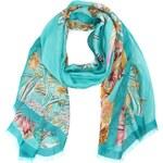 Tyrkysový šátek INVUU London s květy