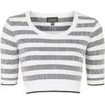 Topshop Monochrome Striped Jacquard Top