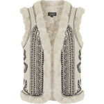 Topshop Faux Fur Embroidered Gilet