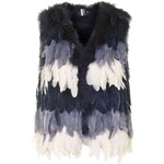 Topshop Ombre Feather Gilet