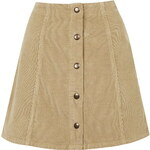 Topshop TALL Cord Button Front A-Line Skirt