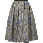 Topshop Floral Stripe Print Midi Skirt
