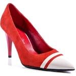 Clarette Dámská obuv na podpatku 699_Red velour + beige lake
