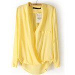 SHEIN Dámská košile Lapel žlutá Velikost: L