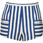 Olympia Le-Tan Cotton High-Waisted Striped Shorts