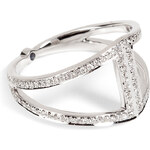 Noor Fares 18K Gold Rhombus Ring with White Diamonds