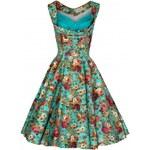 OPHELIA tyrkysová - swingové retro šaty inspirované padesátými léty